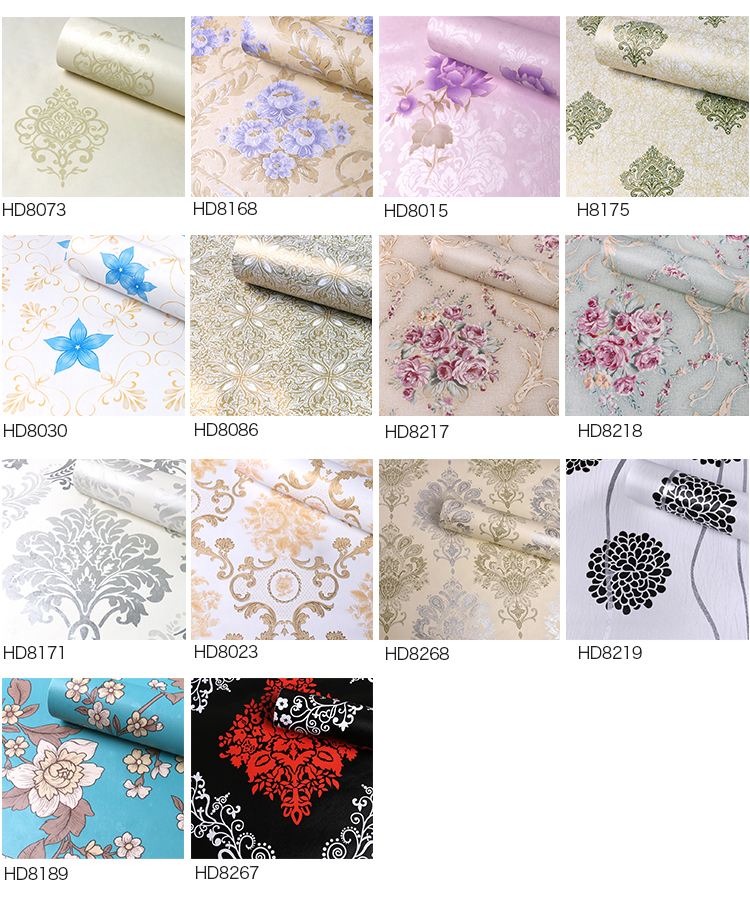 PVC vinyl luxury home wallpaper designs flower wallpaper home decoration