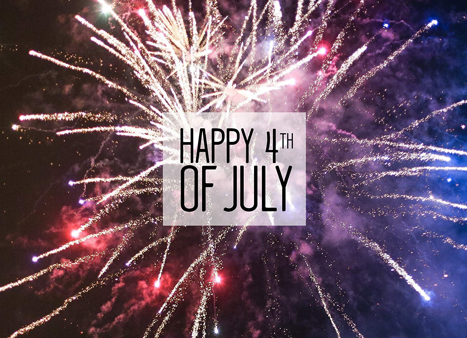 July 4th Greeting Cards - JF1801. Greeting Cards with Fireworks Surrounding a Happy 4th of July Message. Box Set has 25 Greeting Cards and 26 Red Colored Envelopes.