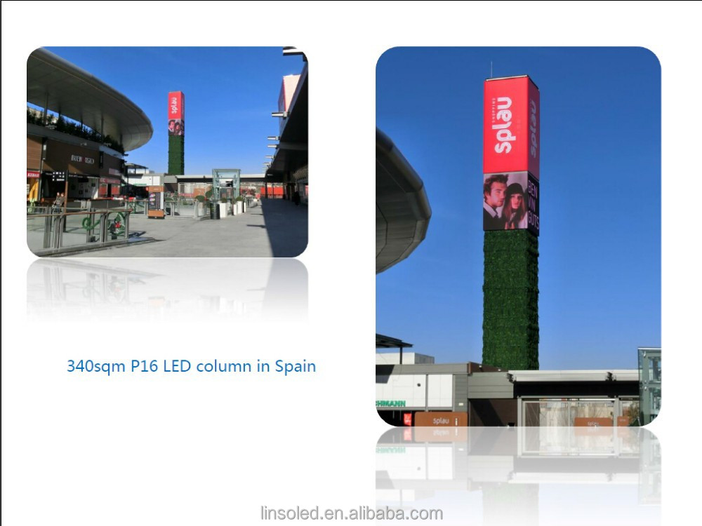 Shanghai Linso LED display P16 for outdoor column installation, best price of LED display