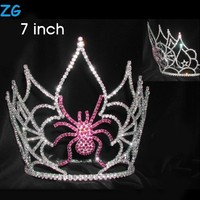 Large Pageant Crowns With Pink Spider Halloween Queen Crown For Sale Beauty Pageant Crown