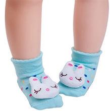 1 пара/лот, милые носки для детей, нескользящие носки на резиновой подошве с рисунком панды и зайца для новорожденных девочек и мальчиков 0-12 ...(China)