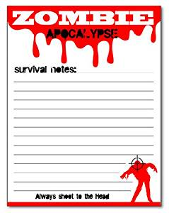 Zombie Apocalypse Funny Magnetic Notepad 50-Sheet 4.25 x 5.5 inches