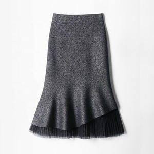 Hot selling women mature elastic high waist skirts lace frilled hem fish tail skirt winter fall mermaid flared midi skirt
