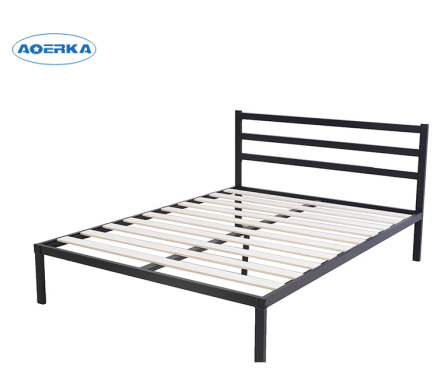 Cheap Simple Double Metal Bed Frame With Headboard And Wood Slat ...