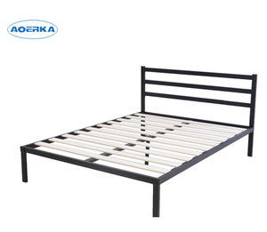 Cheap Simple Double Metal Bed Frame with Headboard and wood slat
