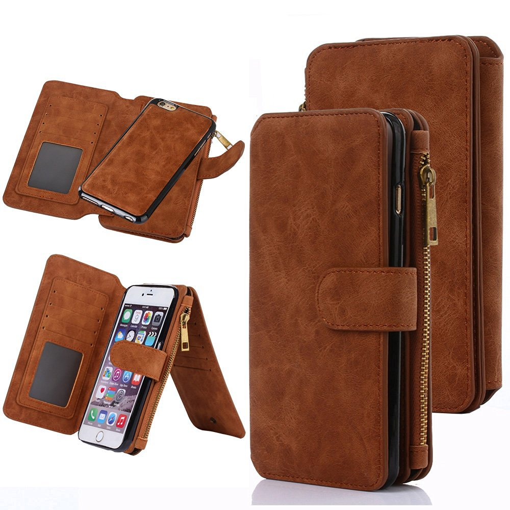 iPhone 6S Case, iPhone 6 Case, CaseUp 12 Card Slot Series - [Zipper Cash Storage] Premium Flip PU Leather Wallet Case Cover With Detachable Magnetic Hard Case For iPhone 6S/6 (4.7 Inch), Brown