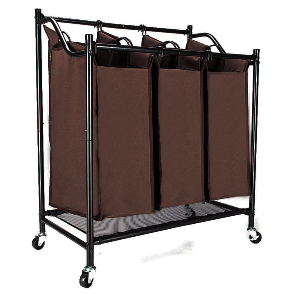 Get Quotations Bonnlo Heavy Duty 3 Bag Laundry Sorter Cart Brown