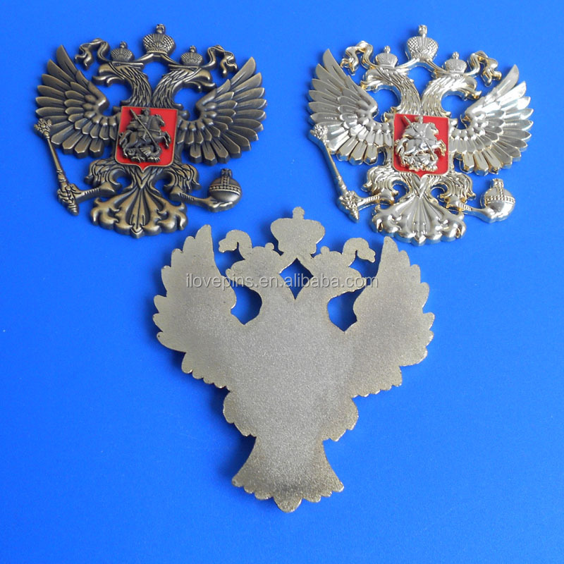 hot selling 3D gold double-head eagles of russia metal badge