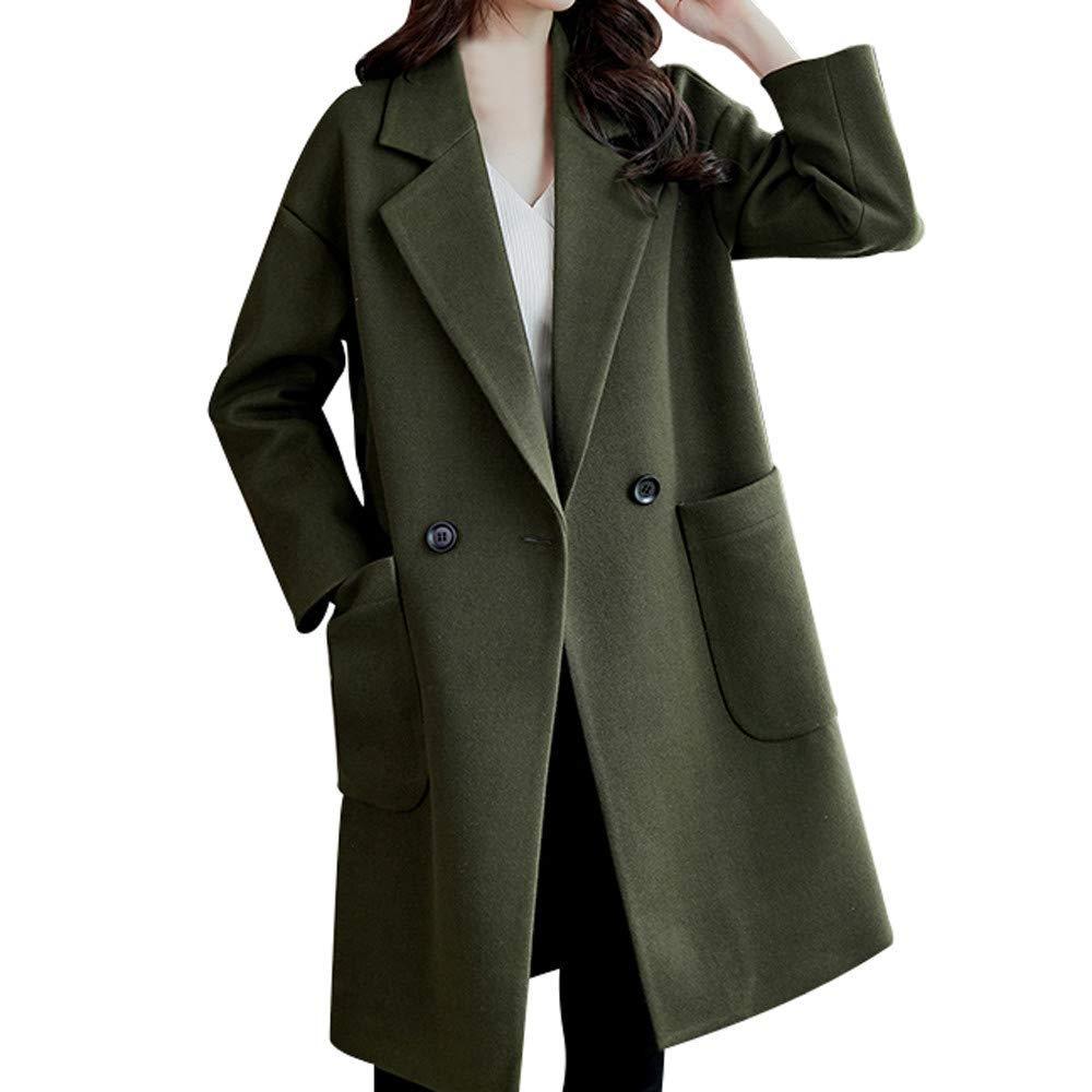 Dreamyth-Winter Women Work Solid Vintage Winter Office Long Sleeve Button Woolen Jacket Coat