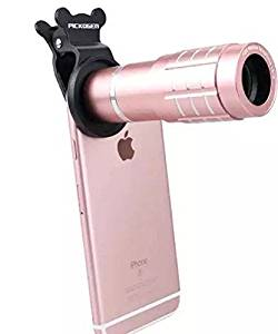 Shopping_Shop2000 Universal Clip-On 12x Zoom Aluminum Telephoto lens Manual Focus Lens For iphone 6s, 6s Plus, 6 plus, 6, 7, 7 Plus, All Samsung Galaxy, Note & Android Smartphones, Tablet (Rose Gold)