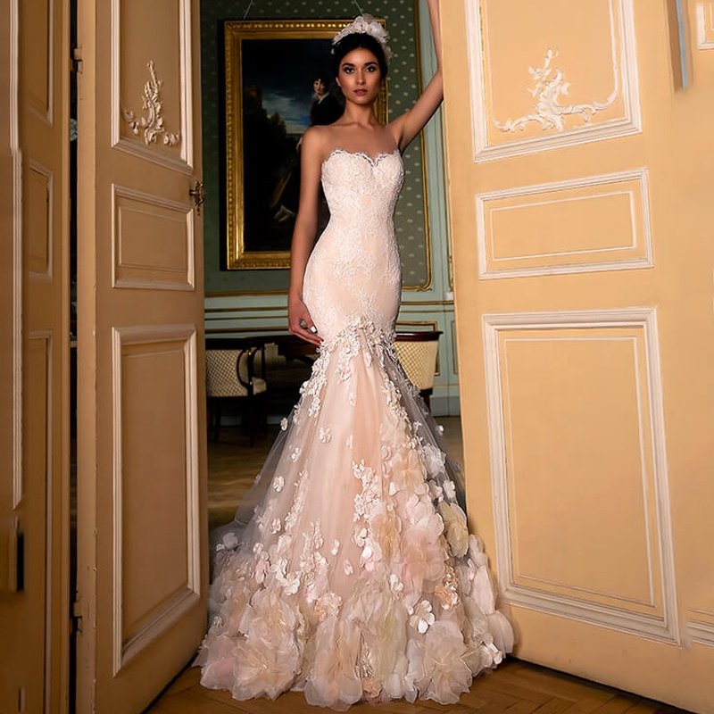 Champagne 3d Flower Wedding Dresses Sleeveless Lace Wedding Gown Fit And  Flare Bridal Dresses 2019 Latest Vestido De Noiva - Buy Plus Size Wedding  ...