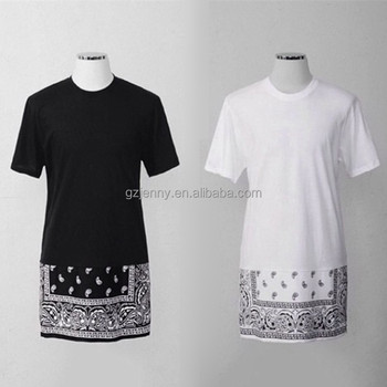 hip hop style mens 100% cotton printed extended longline t shirt