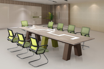 White Office Desk Modern Office Meeting Table View Modern Executive - Desk with meeting table