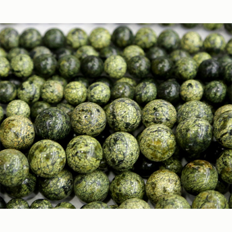 Discount Wholesale Natural Green Serpentine Round Loose Stone Beads ...