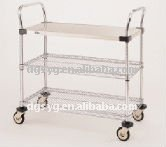 3 Wire shelves 304 Stainless Steel Wire Utility Carts