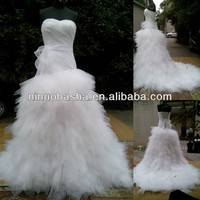 NW-476 Newest Hot Selling Tulle Skrt Real Sample Wedding Dress 2014
