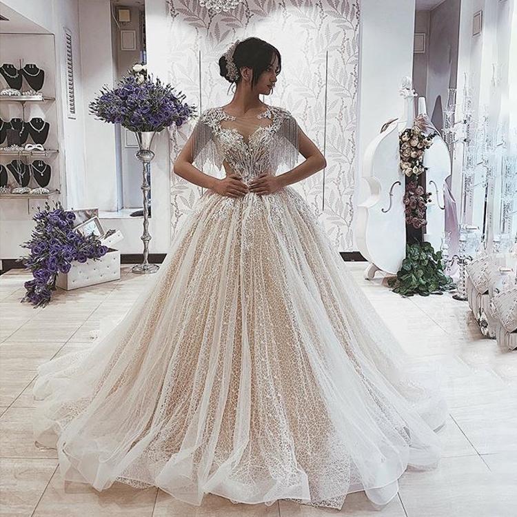 Sparkly Ball Gown Wedding Dresses 2019 Turkey Tassel Short Sleeves