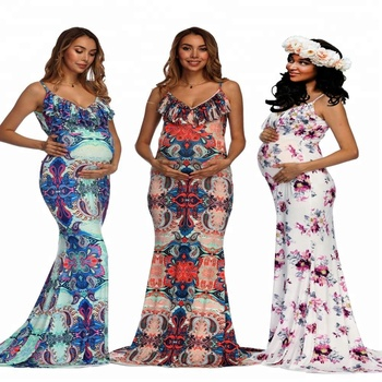 9321528c885 Wish hot sale pregnant female clothing 2018 sleeveless spaghetti strap  photography maternity printed dress