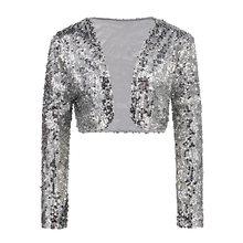 Женский винтажный укороченный пиджак, болеро, вечерние костюмы для клуба, короткий жилет с блестящими блестками и v-образным вырезом, привле...(Китай)