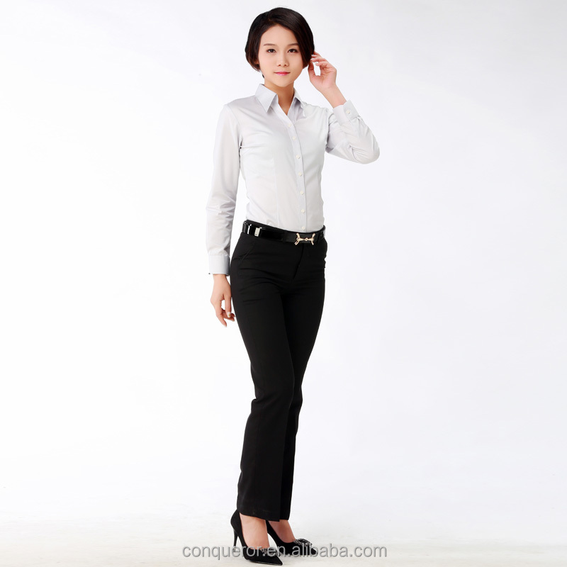 business office women classic figure white shirt