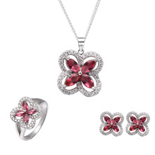 Fashion Ruby zirconia jewelry sets, 925 silver rhodium plated ring necklace earring sets for women