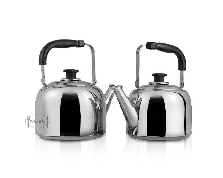 Light stainless steel whistling kettle with bakelite handle