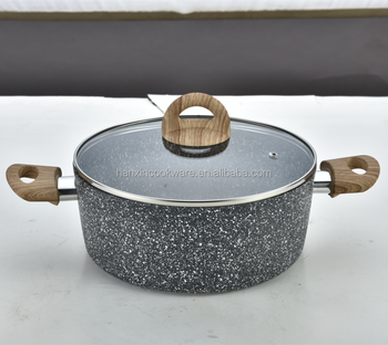Aluminium Stone Cooking Pot And Pan With Wooden Handles