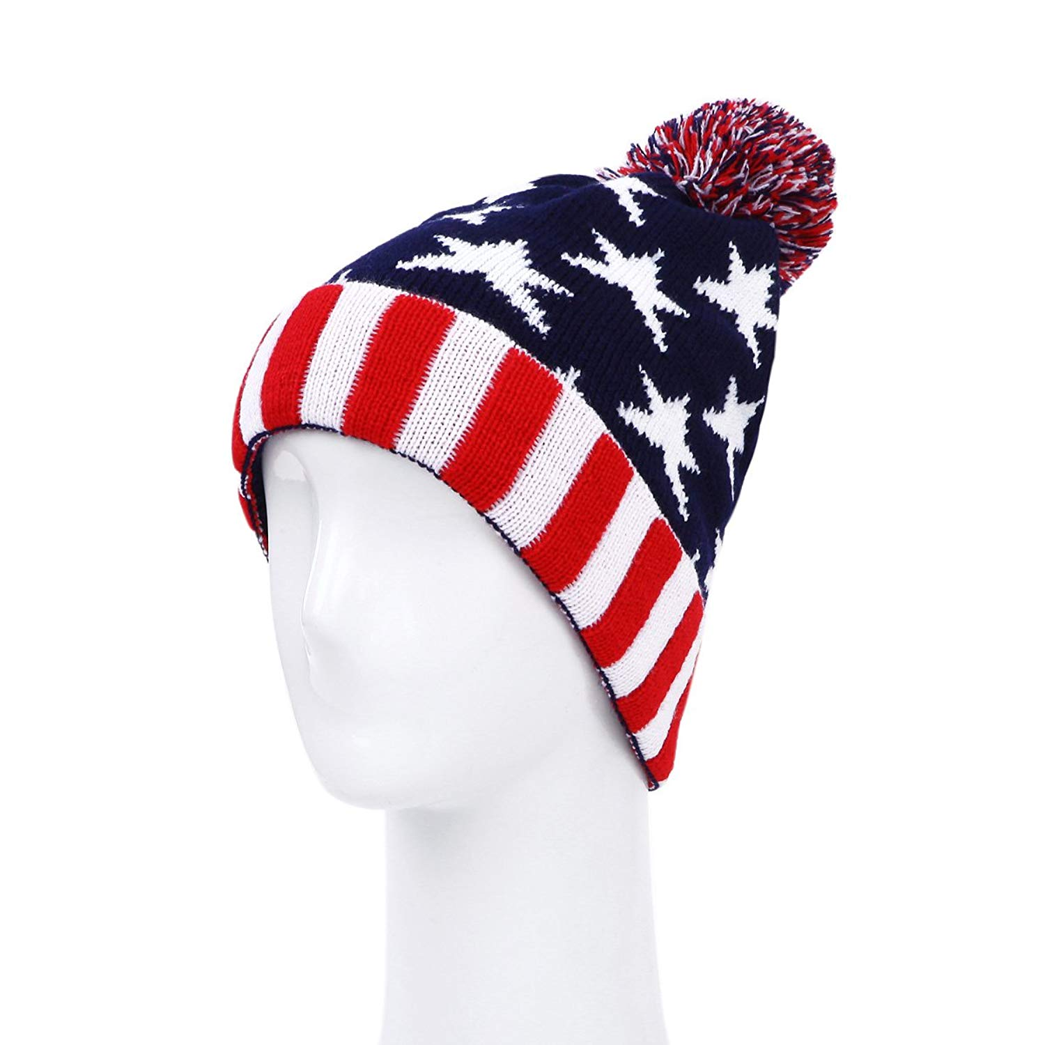 b3865868e7a Get Quotations · TrendsBlue Premium Unisex Warm Knit USA UK Flag Beanie Hat-  Diff Designs