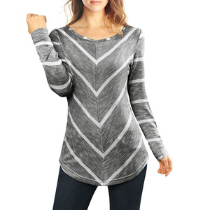 Women Ladies Scoop Neck Long Sleeves Striped Chevron Print Tunic Top Custom T-shirt Wholesale Clothing Pullover Tunics