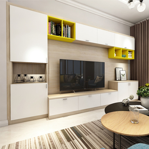 Modern Classic Melamine Wall Tv Cabinet In Living Room