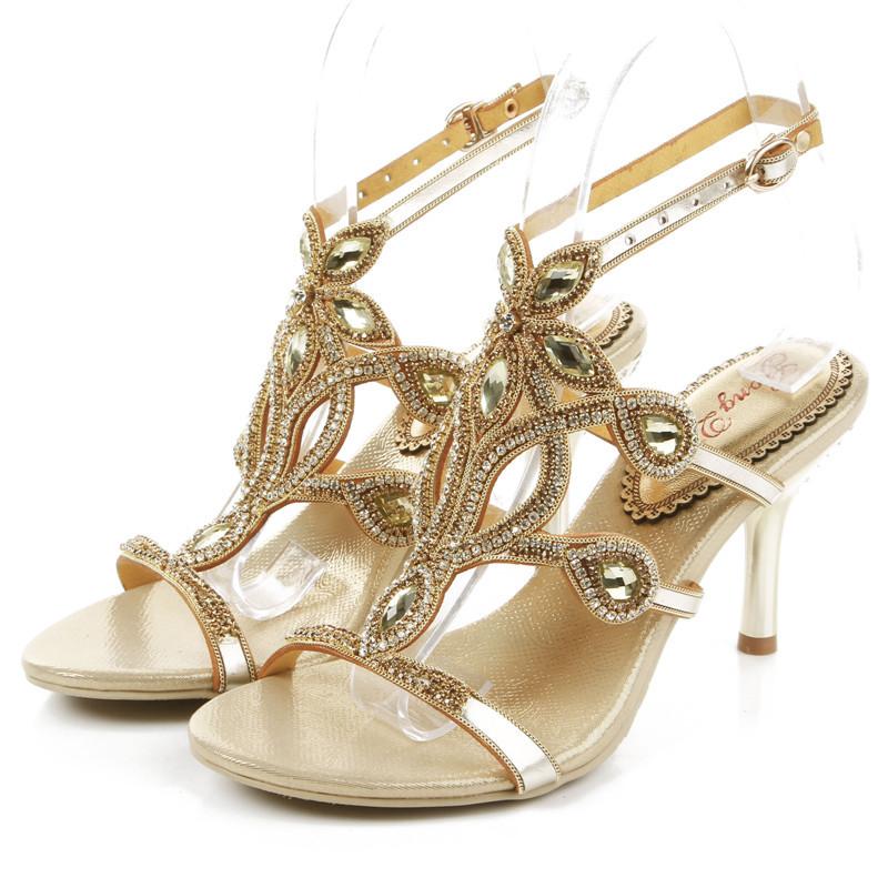 Gold Wedding Rhinestone Shoes Women Sandals High Heels