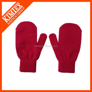 Wholesale cheap custom acrylic knit red mittens