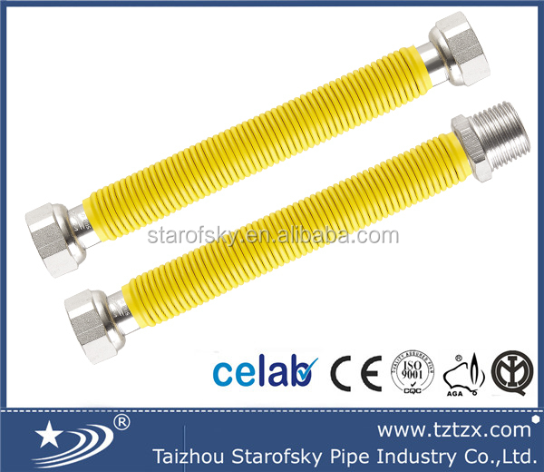 "Extensible EN14800 <strong>stainless</strong> steel metal 304/316L gas hose/pipe/tube with PE yellow cover 3/4"" FF 1000mm-2000mm"