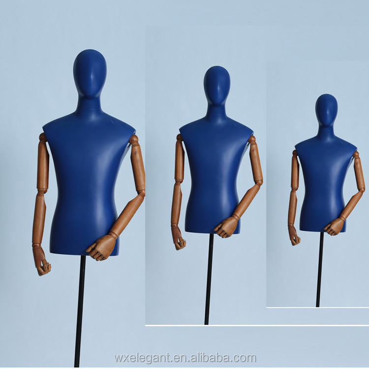 New product hot selling abstract male half model and wooden arms mannequins in cloth store with free base