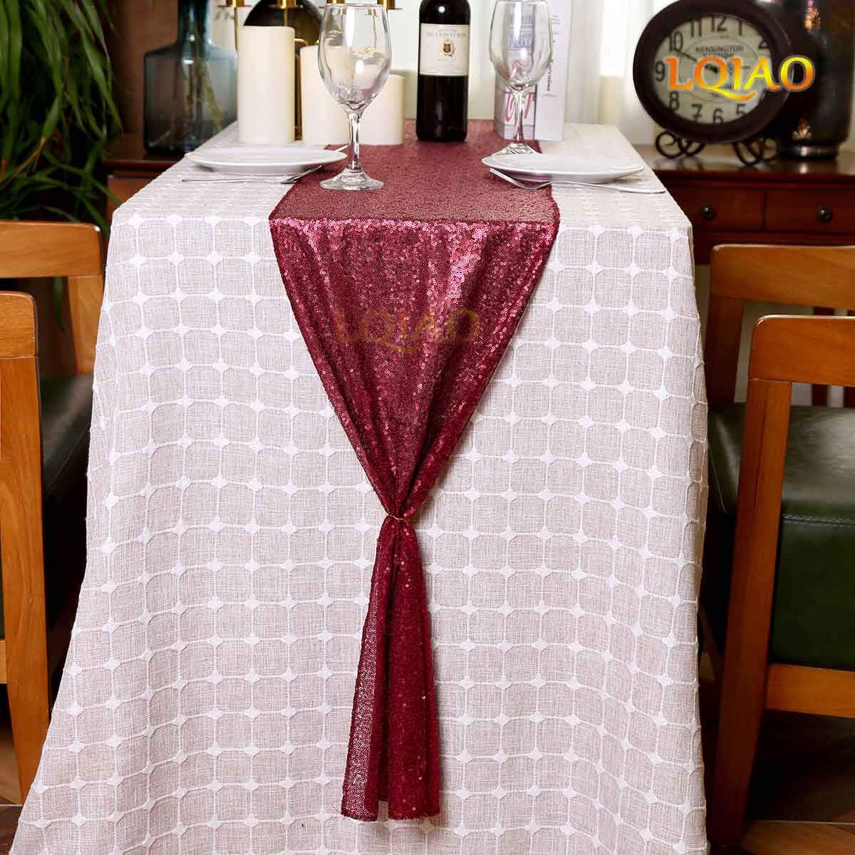 LQIAO Matte Burgundy Sequin Table Runner Paillette Fabric Metallic Runner  Linens Thanksgiving Christmas Wedding DIY