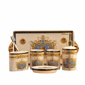 Clic European Baroque Style Ceramic Bath Accessories Set 6 Pcs In Fancy Golden And Blue