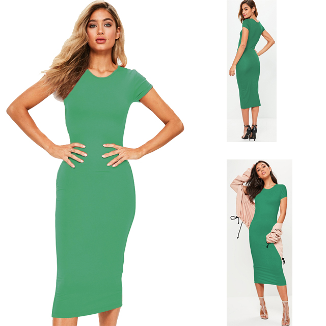 58861afae1 DR016 coton tissu tshirt robe vêtements plaine col rond vert body manche  courte robe pour les