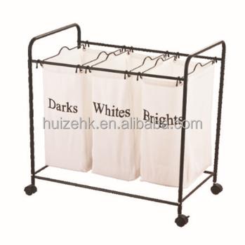 Home value triple compartment dark light color laundry hamper buy dark light color hamper - Laundry basket lights darks colours ...