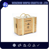 New arrive pine wood wine box wooden wine box 4 bottles accept custom