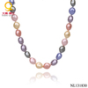 Multi color natural shell pearl necklace