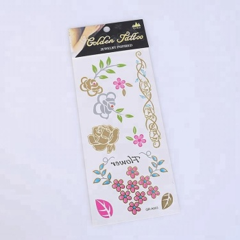 Temporary Tattoo Sticker Customized Metallic Tattoo and Package Free Sample
