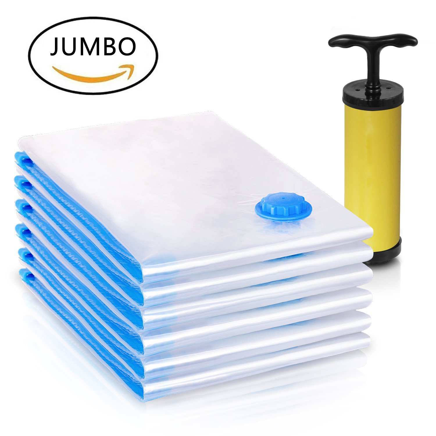 "JUMBO Space Saver Large Vacuum Bags Vacuum Space Saver Vacuum Storage Bags Space Saver Vacuum Bags Airtight Storage Bags Compression Bags Vacuum Bags Large Space Saver REUSABLE (40x30"")6 PACK"
