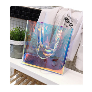 women holographic tote bag pvc handbag clear shoulder beach bag
