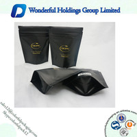Custom printed Matte black stand up zip pouch for snack food packaging