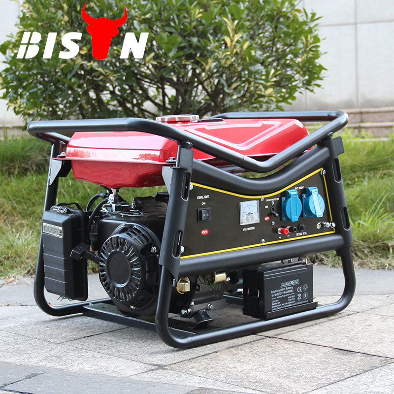 BISON China 5KW Cheap Gasoline Gas Operated Electric Generator with Battery