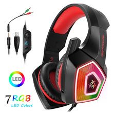 Amazon Top Sale Gaming Headset for PS4 Xbox One, PC Gaming Headset with Mic, Over Ear Headphones with LED Light Freeshiping
