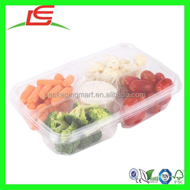 N881 Clear Rectangular 5 Compartment Plastic Catering Food Tray With Lid