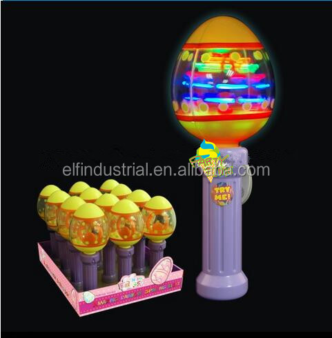 Children easter led light up wand toys glow in the dark easter lighted egg shap flashing spinning wand