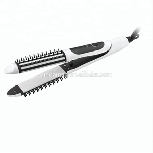 2 in 1 Hair Straightener Brush Ceramic Hair Flat Iron with comb