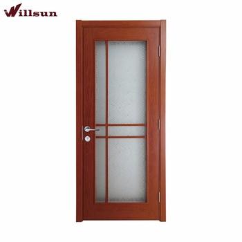 New Design Solid Wood Veneer Frame Tempered Gl Single Interior Bathroom Door Price